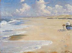 Plakat<br>P.S. Krøyer<br>Marie Krøyer maler på Stenbjerg strand : vis