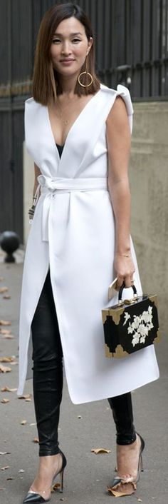 Put them under a long vest or dress tied at the waist for a unique touch   Black And White High Street Style Tips   Cut & Paste #put