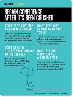 How to: regain confidence after it's been crushed -Unstuck's Best Advice of 2013