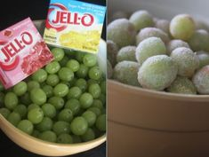 Sour Patch Grapes - Rinse your grapes and roll them in Jello Mix... MANY possibilities for a Low Fat Snack :)