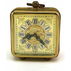 ELGIN Vintage Boudoir Brass Lace Wrapped Square Wind Alarm Clock Made... ($16) ❤ liked on Polyvore featuring etsy