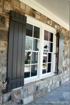 Shutters & nice rock work Window Shutters Exterior, House Shutters, Black Shutters, Wood Shutters, Outside Shutters, Outdoor Shutters, Painting Shutters, Exterior Paint Colors, Exterior House Colors