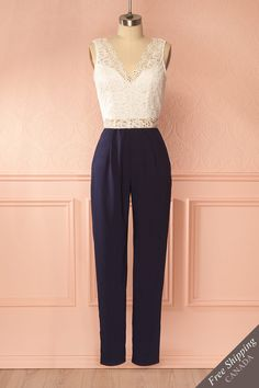 Lamis Blanc #boutique1861 /  This lovely jumpsuit with its crocheted top is perfect for any occasion. You can pair high heels and ballerina flats perfectly with its tapered pants, making it easy to go from a day at work to a night out with your friends!