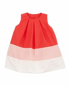 Colorblock+Pleated+Dress,+Pink,+6-24+Months++by+Marie+Chantal+at+Neiman+Marcus.