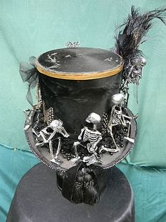 Edwardian Top Hat Altered Couture Mr. Poe Raven Undertaker Witch Dr Steam Punk | eBay