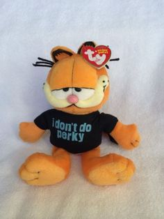 Garfield Ty Beanie Baby I Don'T do Perky Retired Cat Cartoon Plush Collectible | eBay
