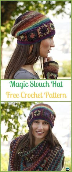 Crochet Magic Granny Slouch Hat Free Pattern -Crochet Slouchy Beanie Hat Free Patterns