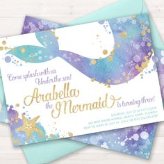 Mermaid Invitation Mermaid Party Invite - Mermaid Birthday Party _ Mermaid Baby Shower - Little Mermaid - Under the Sea Party - Pool Party Invitation - Printable Inivtation - Watercolor Mermaid Invitation by Lemonade Design Studio