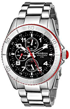 Armitron Herren 20/4810RDSV Black Dial Silver-Tone Multi-Function Uhr