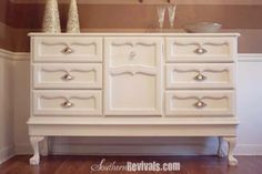 Add legs to a dresser!!!   Southern Revivals: Vintage 1970's Dresser Becomes Modern BuffetA Dresser Revival