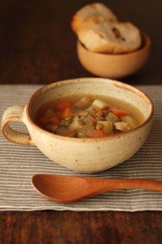 レンズ豆と野菜のジンジャースープ