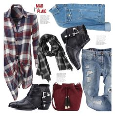 """""""Mad for Plaid.."""" by hattie4palmerstone ❤ liked on Polyvore featuring LE3NO, Topshop, Anine Bing, Zadig & Voltaire and Loeffler Randall"""