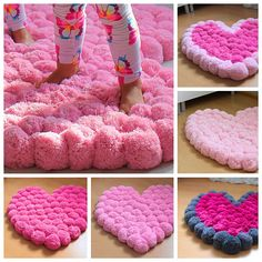 Pom Pom Rug Pink Pompom Rug Heart Rug Teen Room Decor