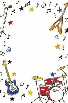 Music Themed Party: Free Printable Frames, Borders and Labels.