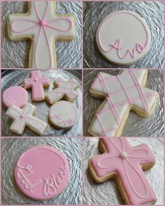 The Way The Cookie Crumbles: Baptism crosses Baby Cookies, Cute Cookies, Easter Cookies, Royal Icing Cookies, Cupcake Cookies, Sugar Cookies, Cupcakes, Baby Girl Baptism, Baptism Party