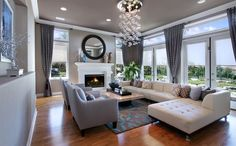 Living room with cascading floating bubble chandelier