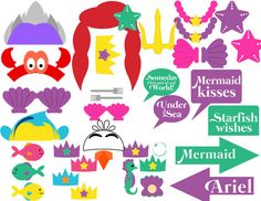 Little Mermaid photobooth set by PrincessPrintingCo on Etsy