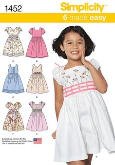 Simplicity Pattern 1452A 3-4-5-6-7--Child Dresses