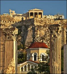 Architecture details of Ancient Athens. Acropolis, seen from Plaka. Places Around The World, Oh The Places You'll Go, Places To Travel, Around The Worlds, Travel Destinations, Ancient Architecture, Architecture Details, Greece Architecture, Creative Architecture