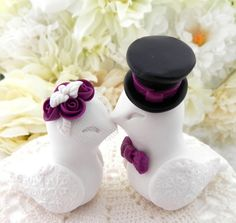 Love Birds Wedding Cake Topper White Plum Purple and by LavaGifts