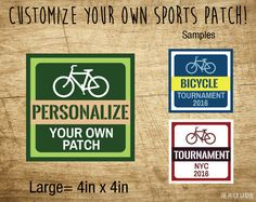 LARGE Squared Bicycle Custom Patches