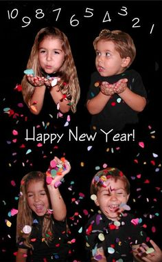 A New Years Day Card from the Bale family (using confetti photoshopped into the picture). I love this family's Christmas/New Year's card ideas! New Year Pictures, Holiday Pictures, Christmas Photos, Family Christmas, Xmas Pics, Creative Christmas Cards, Xmas Cards, Holiday Cards, New Year Photoshoot
