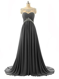 2017 New Arrival Grey Long Prom Dresses,Sexy A-Line Evening Dresses,Beading Chiffon Formal Women Gowns