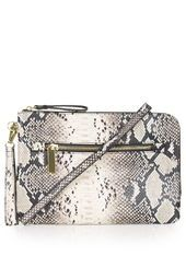 Snake-Effect Zip Clutch