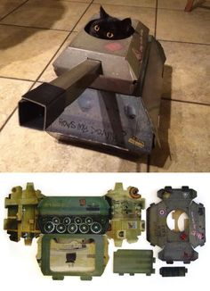 This Company Makes Hilarious Cardboard Tanks, Planes And Houses For Cats - Pampered Pets Cat Playhouse, Cardboard Playhouse, Cardboard Cat House, Cat Castle, Cat House Diy, House For Cats, Cats Tumblr, Cat Enclosure, Cat Crafts