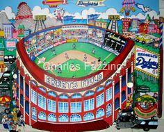 """Ebbets Field,"" mixed media pop art by Charles Fazzino. #popart #MLB #baseball #brooklyndodgers #dodgers #brooklyn"