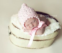 Baby Pixie Bonnet Hat Light Pink Crochet by OopsIKnitItAgain, $26.00