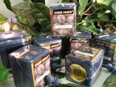 Blueberry- Set of Six Square Scented Votive Candle - 3 Ounces Each  $16.50