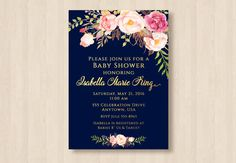 Bridal Baby Shower Navy Blue and Gold Blush by 3SweetCheeksDesigns