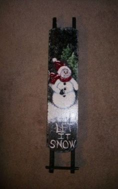 Painted Wooden Sled by brendastreasures on Etsy, $20.00