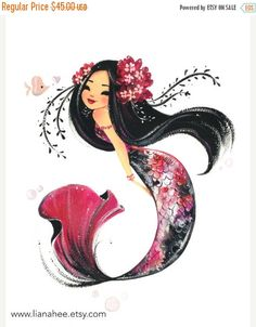Koi-Kiss FineArt print von LianaHee auf Etsy You are in the right place about mermaid hair how to He Mermaid Drawings, Art Drawings, Drawings Of Mermaids, Mermaid Paintings, Fantasy Kunst, Fantasy Art, Koi, Grafik Art, Doodle Drawing