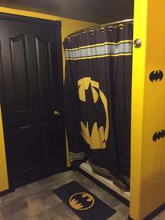 Superhero shower curtain superhero bathroom decor comic for Batman bathroom ideas