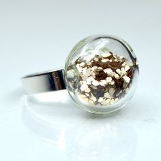 Champagne color big glitter in round blown glass by thestudio8, etsy