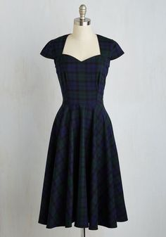 Deans List Diva Dress in Navy Plaid $94.99 AT vintagedancer.com