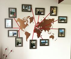 New feature wall! Stencil of the world map - then ribbon and images from places we have visited! Super way to share memories of holidays! Cheap too!