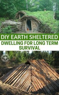 DIY Earth Sheltered Dwelling For Long Term Survival - This style of shelter is easy to build and maintain and because it is natural you won't need to spend a dime on it. These types of shelter can be easily hidden and camouflaged too. Survival Shelter, Survival Food, Homestead Survival, Wilderness Survival, Camping Survival, Outdoor Survival, Survival Prepping, Survival Skills, Survival Quotes
