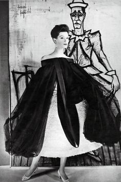 Photo Henry Clarke, 1964, Model Wearing Givenchy, art by Bernard Buffet, Vogue.