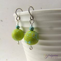 Lime green and turquoise bead earrings, handmade beads, hypo-allergenic titanium ear wires by Fulgorine on Etsy