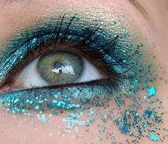 Blue sparkle makeup; also can be used as blue fairy makeup.