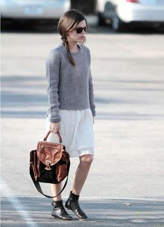 Knitted jumpers over floaty dresses with flats.... love love love