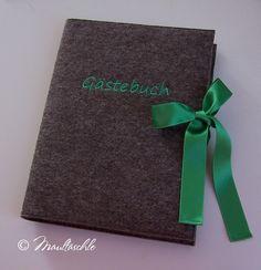 Gästebuch XL mit besticktem Filzumschlag von Maultäschle auf DaWanda.com