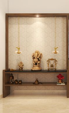 A divine corner that gives you your personal space to perform your rituals.   #PoojaRoom #IndianHomeDecor #InteriorDesign