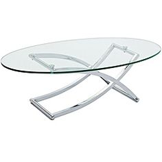 @Overstock - Add minimalist style to your living room with the Criss Cross glass and chrome coffee table. This sturdy yet playful design is evocative of a folding chair, and is a great addition to any modern living room.http://www.overstock.com/Home-Garden/Criss-Cross-Glass-Chrome-Oval-Coffee-Table/6673491/product.html?CID=214117 $250.19