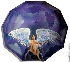 """Купить зонт ручной росписи """"Равновесие"""" - сиреневый, рисунок, весы, ангел, зонт ручной росписи"""