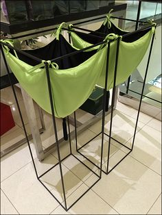 Fabric Pouch Pedestal Bins in Green