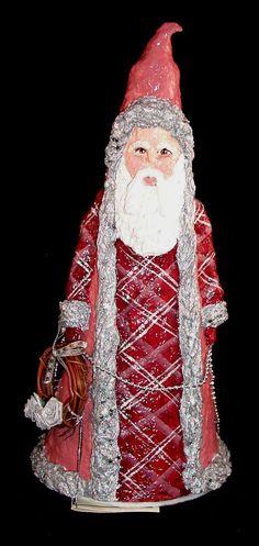 OOAK Paper Mache Mauve Santa.
